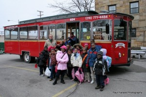 Kids in Front of the Trolley